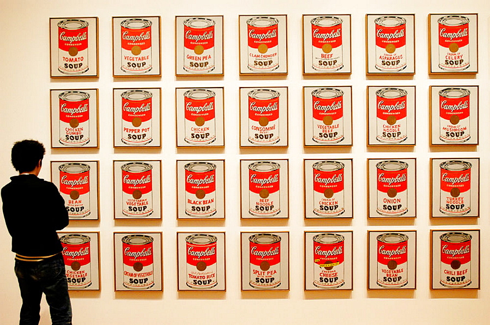 Visitor looking at Campbell's Soup cans by Andy Warhol, Museum of Modern Art, New York City, USA