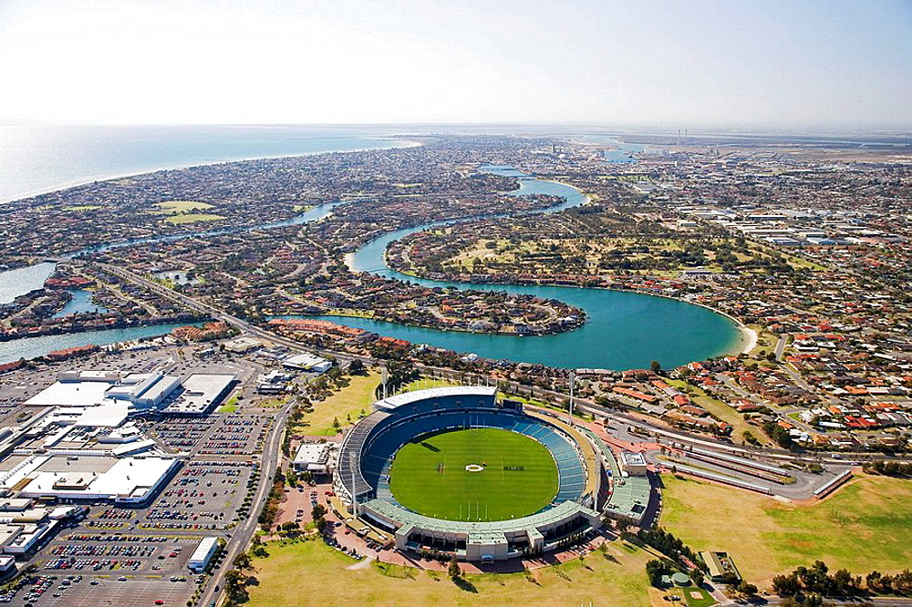 West Lakes Mall, AAMI Stadium and West Lakes, Adelaide, South Australia, Australia - aerial