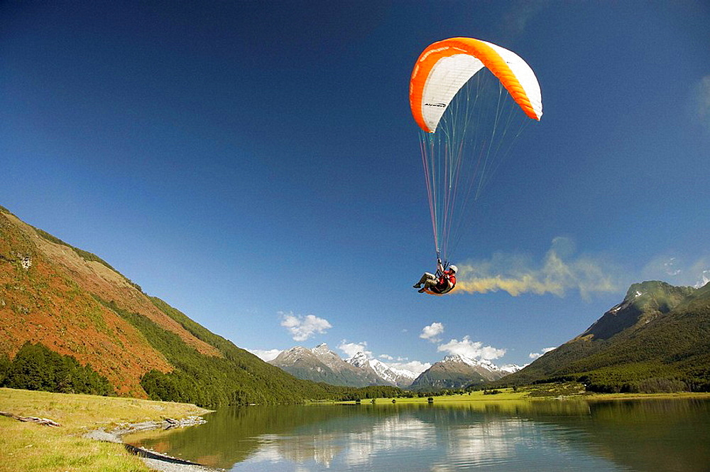 Paraglider, Diamond Lake, Paradise, near Glenorchy, Queenstown Region, South Island, New Zealand