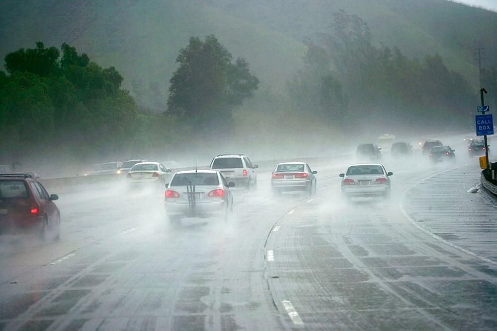 Driving in heavy rain on US Highway 1 in Southern California