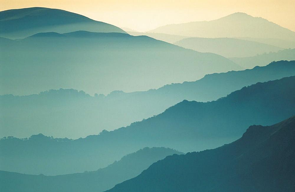 Pyrenees Mountains from mount Ortzanzurieta, Navarra, Spain