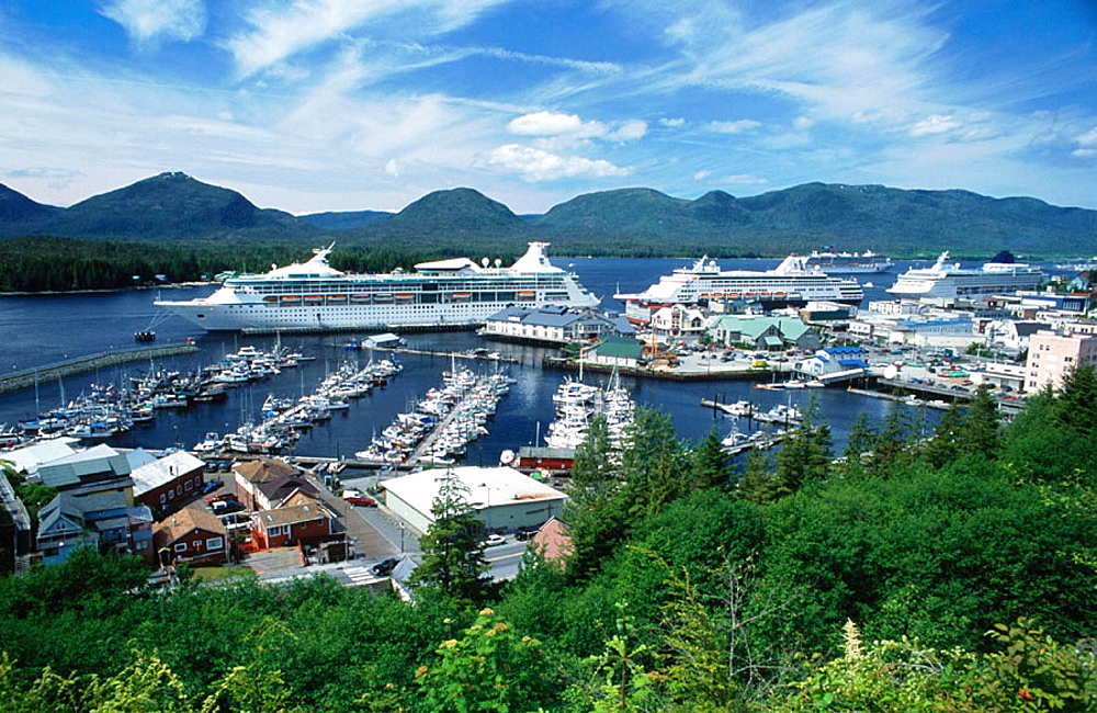 Thomas Basin fishing boat harbour in the city of Ketchikan, Revillagigedo Island, Alexander Archipelago, Alaska, USA