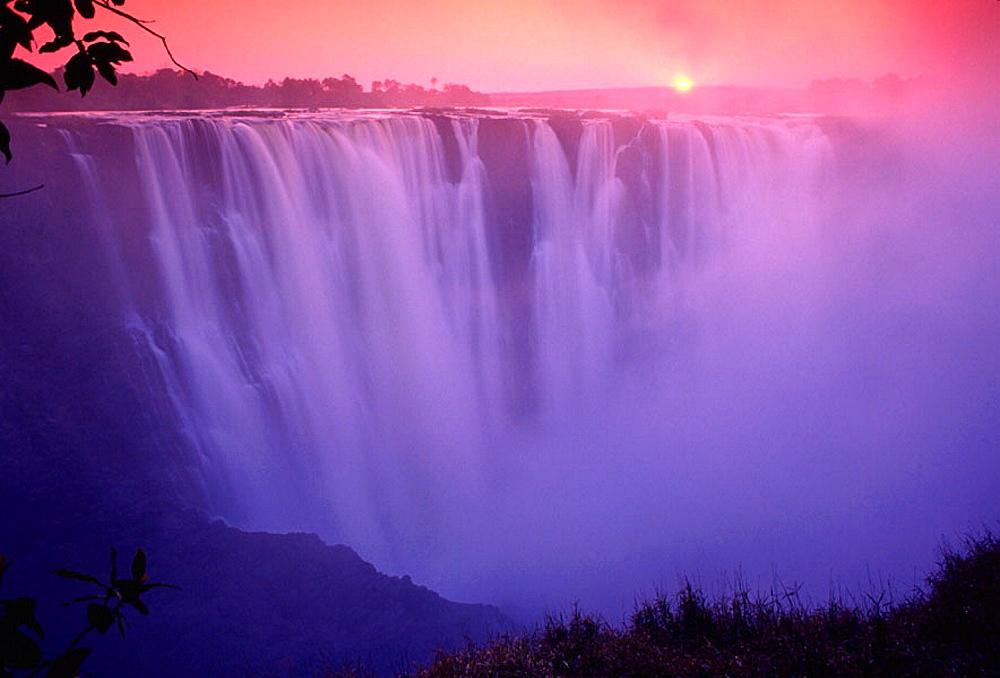 Beautiful image of Victoria Falls at sunset