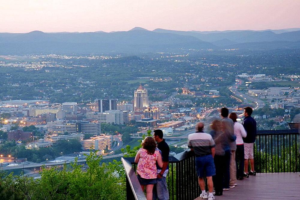 Virginia, Roanoke, Mill Mountain Overlook, man, woman, couple, families, view, downtown, city, dusk, evening, Allegheny Mountains, Blue Ridge, Appalachian,