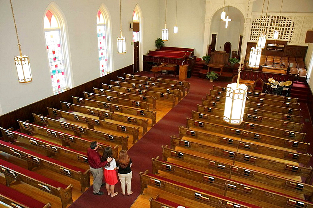 Alabama, Montgomery, Dexter Avenue King Memorial Baptist Church, Martin Luther King Jr,pastor, Civil Rights Movement, man, woman, girl, teen, family, National Historic Landmark, pews, altar, religion,