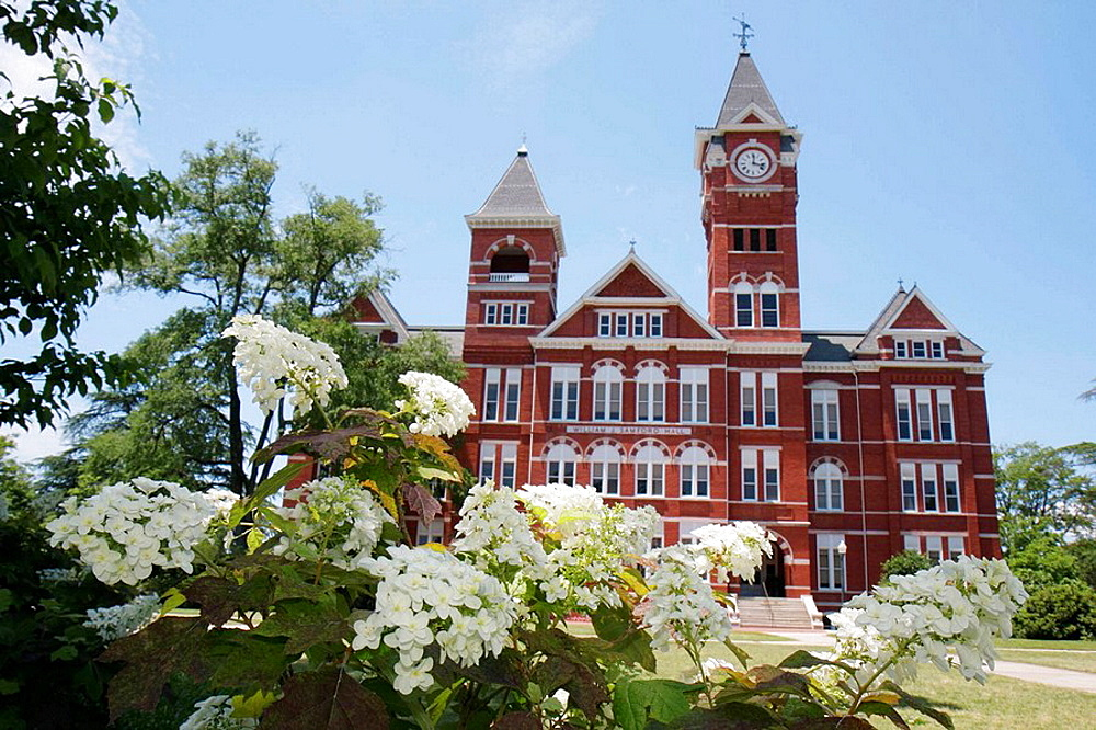 Alabama, Auburn, Auburn University, Samford Hall, Clock Tower, administration building, picturesque grounds, campus, higher education, tradition, academia, Southeastern Conference, Governor William J Samford, built 1888, red bricks, flowers,