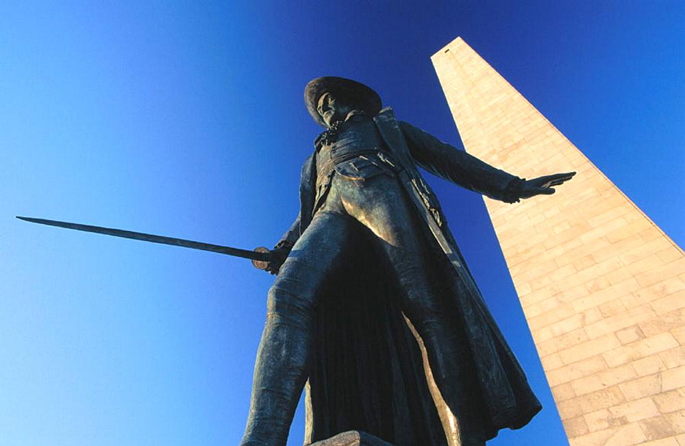 William Prescott Statue, Bunker Hill Monument, Charlestown, Boston, MA, USA