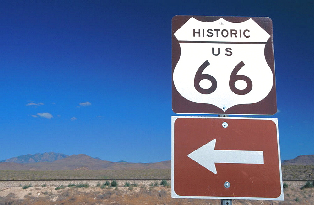 Route 66 sign in desert, Kingman, Arizona, USA