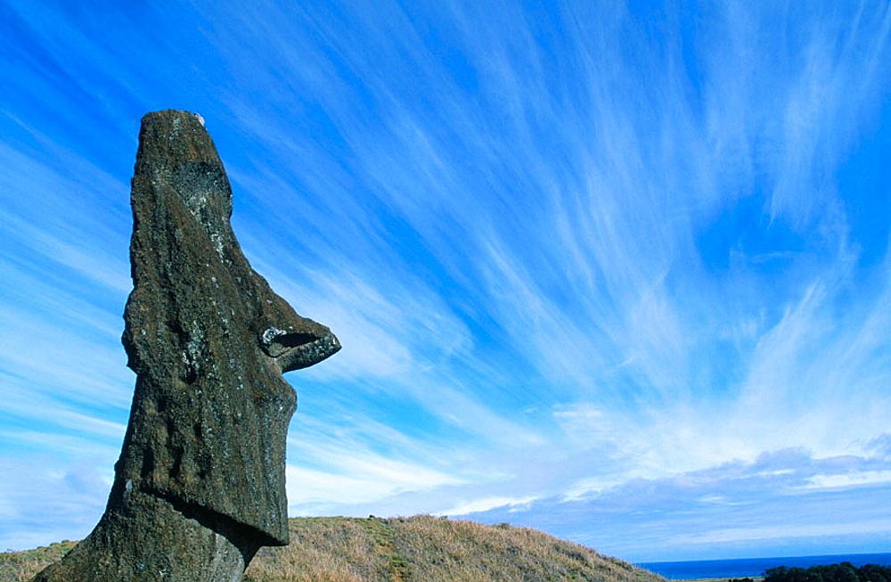 Single moai in Rana Raraku, Eastern Island, Chile