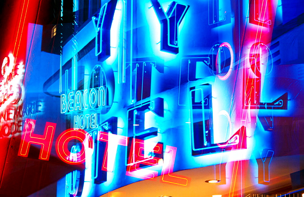 Hotel signs, Ocean Drive, Miami Beach, Florida, USA - 817-113348