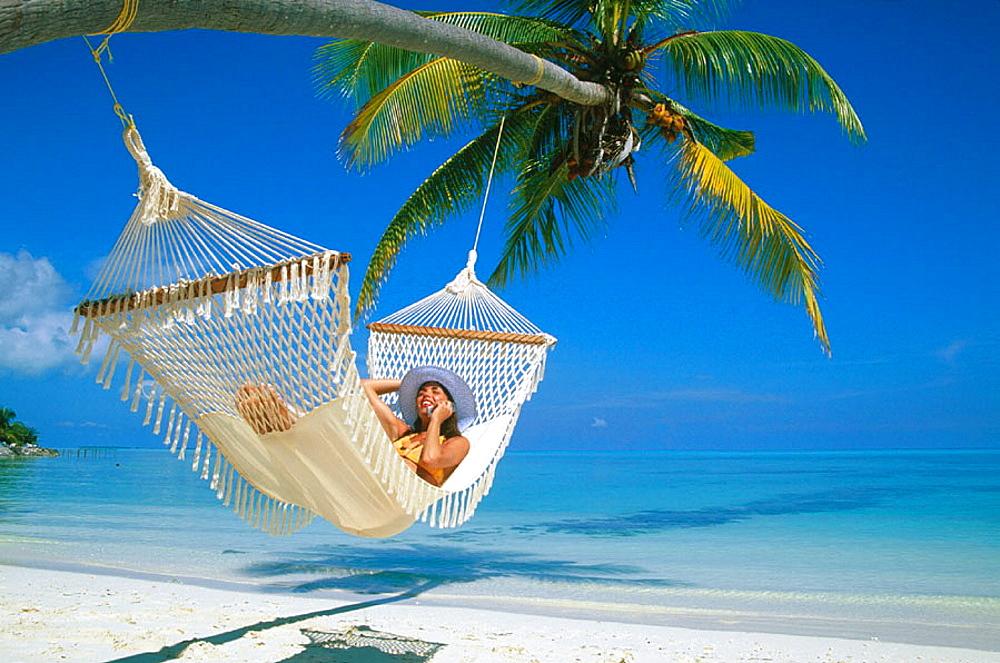 Woman on a beach, Ari Atoll, Maldivas