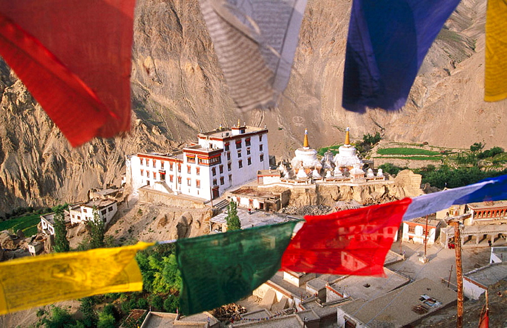 Prayer flags at Lamayuru Monastery, Ladakh, Jummu and Kashmir, India