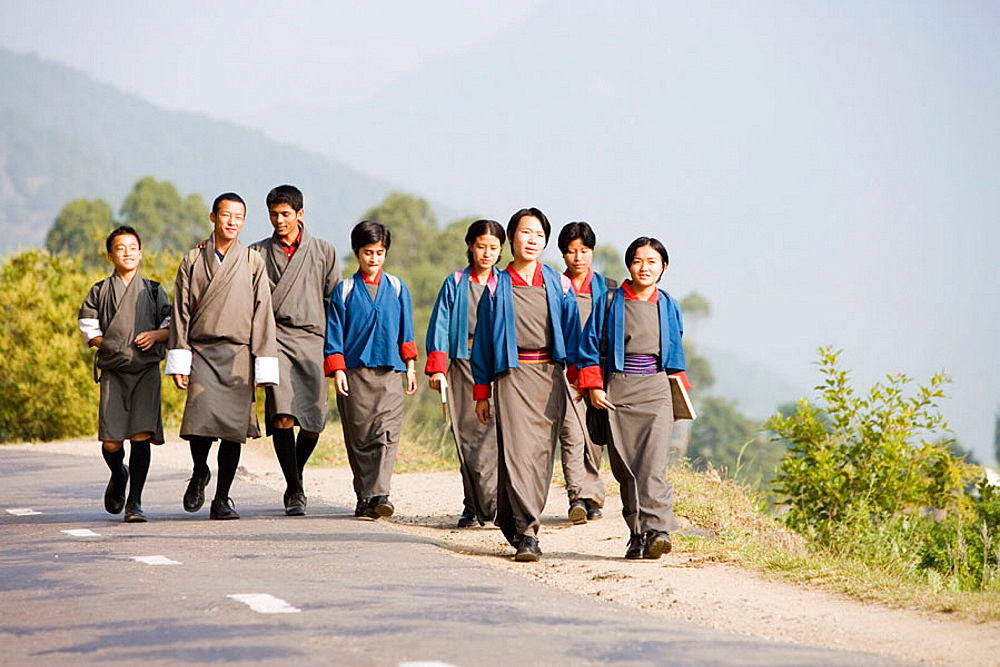 School boys and girls, Punakha Valley, Bhutan