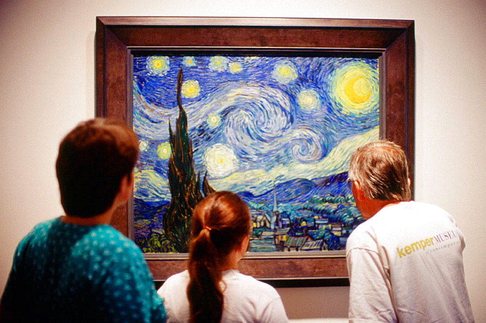 Starry night (c, 1889), by Van Gogh, Visitors at Museum of Modern Art, New York City, USA