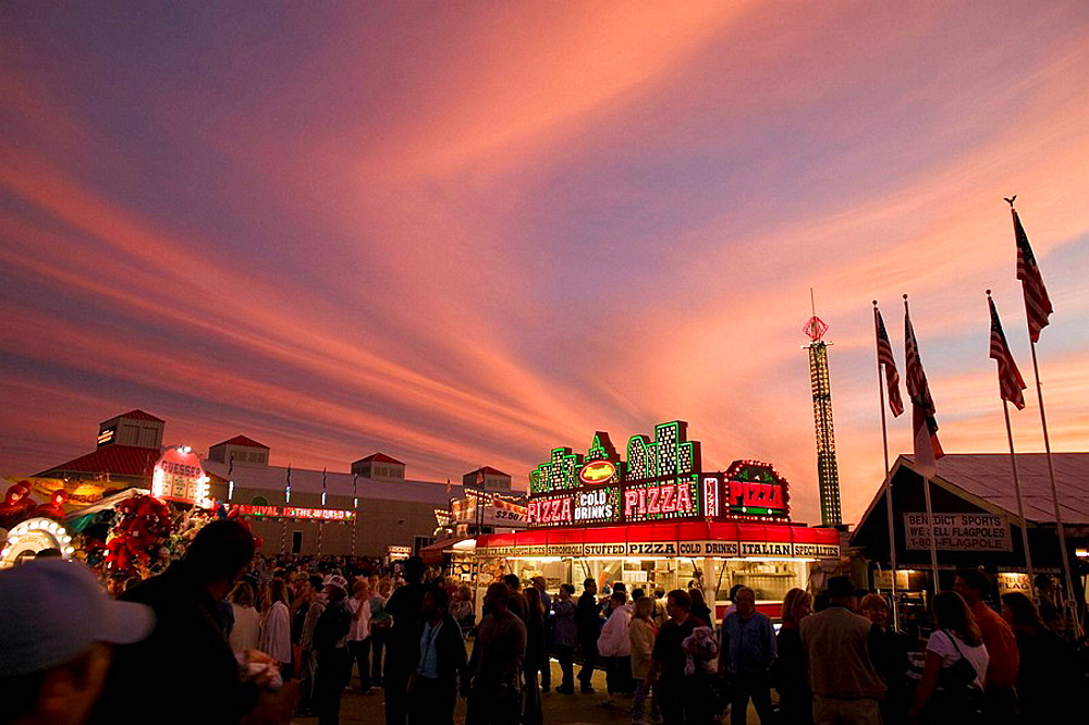 sunset sky with pizza stand, North Carolina State Fair, Raleigh, NC