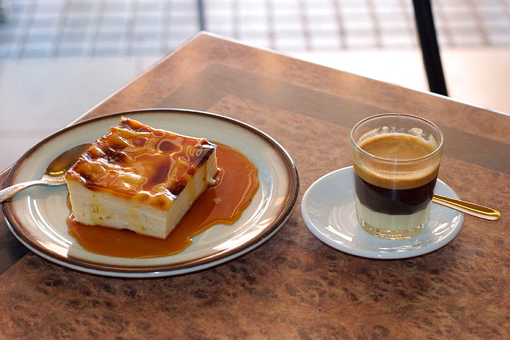 'Leche asada' and 'cortado' (typical dessert and coffee), La Gomera, Canary Islands, Spain - 817-115678