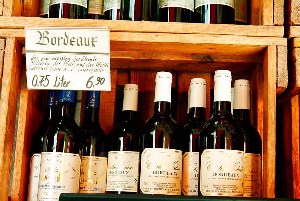 French Bordeaux wines at Viktualienmarkt, Munich, Germany