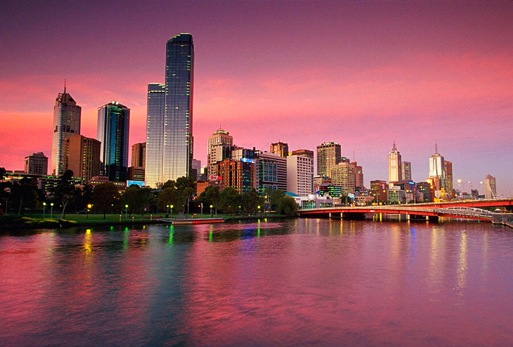 Central Business District and Yarra River, Melbourne, Australia