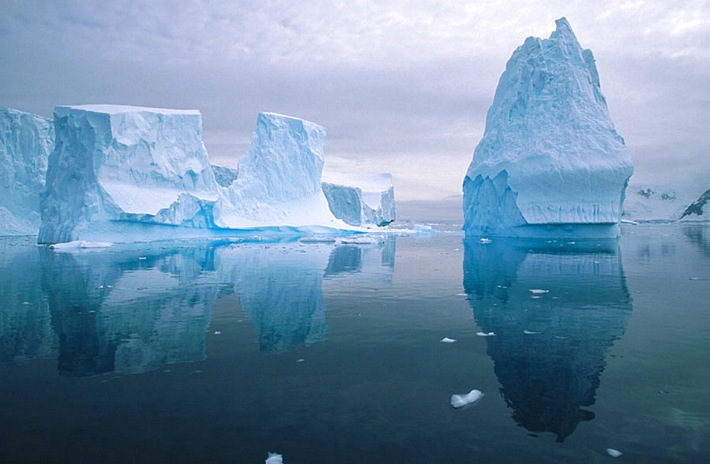 Iceberg in reflection, Andvoord Bay, Antarctic Peninsula, Antartica