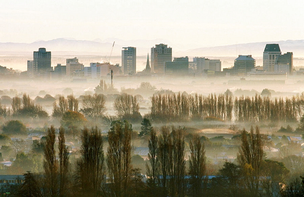 Winter smog pollution from coal and wood fires, Christchurch, New Zealand - 817-116748