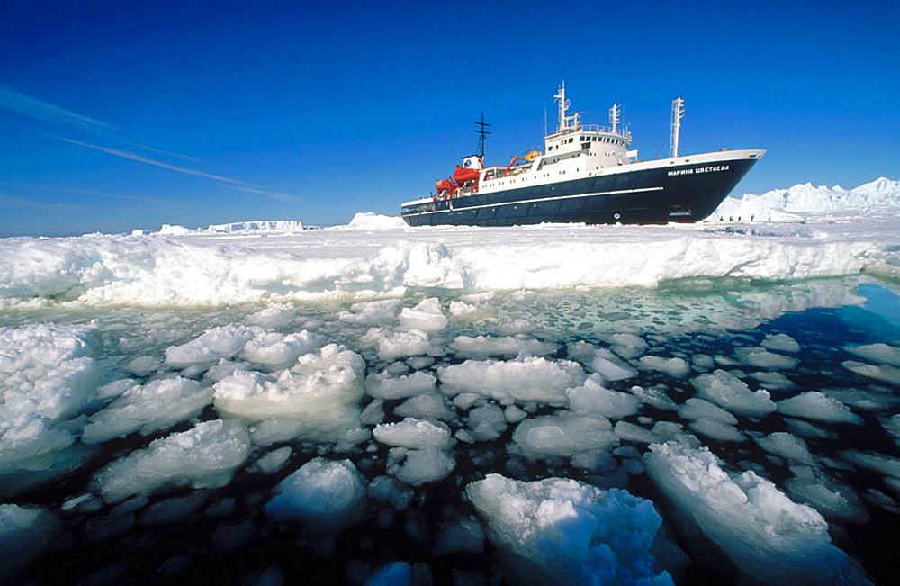 Cruise ship near Dumont d'Urville, Antarctica