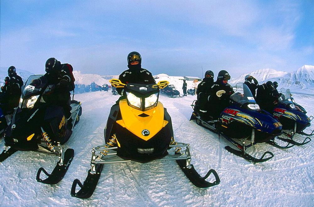 Guided ski-doo party Longyearbyen Spitsbergen Island Svalbard Norwegian Arctic