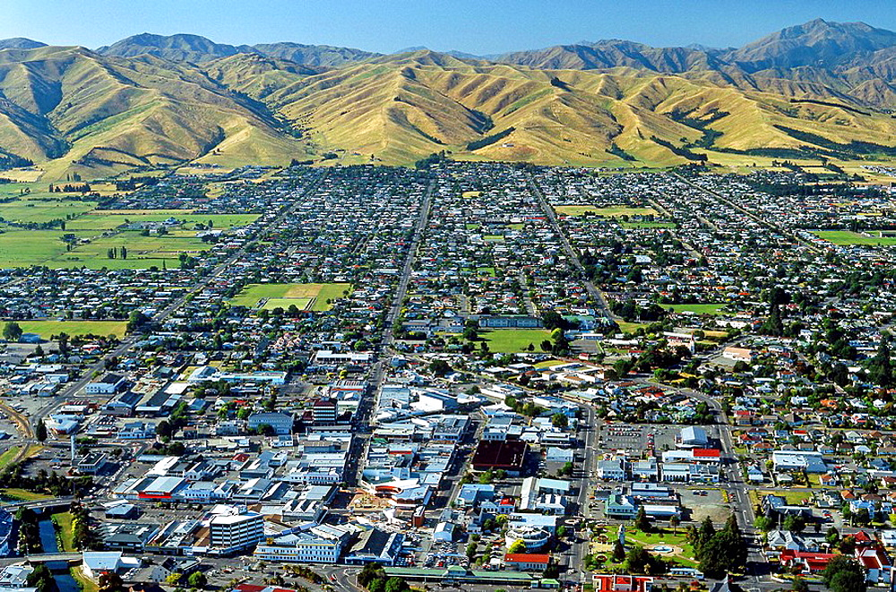 Blenheim with Wither Hills behind Marlborough New Zealand