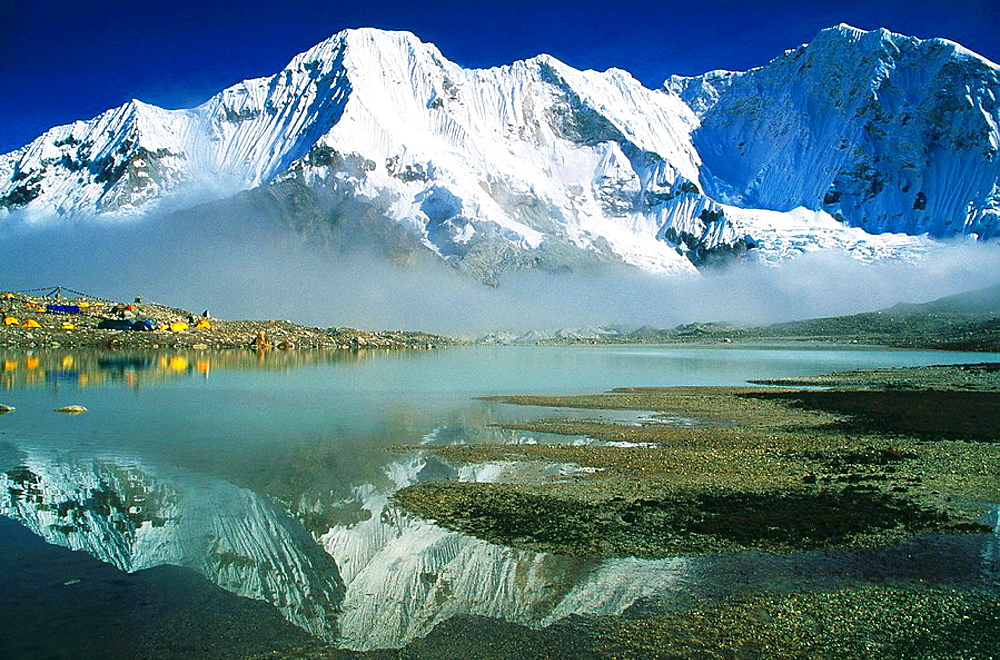 Baruntse base camp reflections in evening light Makalu-Barun National Park Nepal - 817-116984