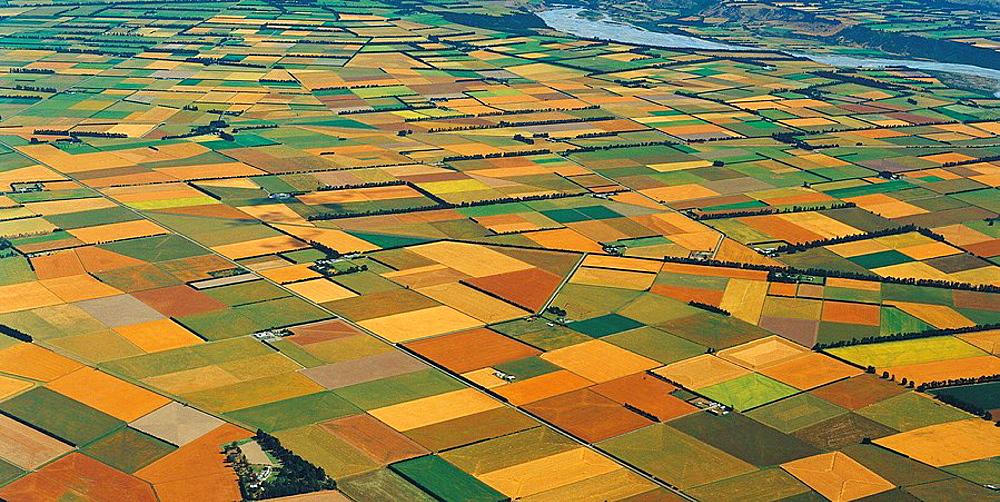 Agricultural patchwork Canterbury Plains near Rakaia aerial view New Zealand