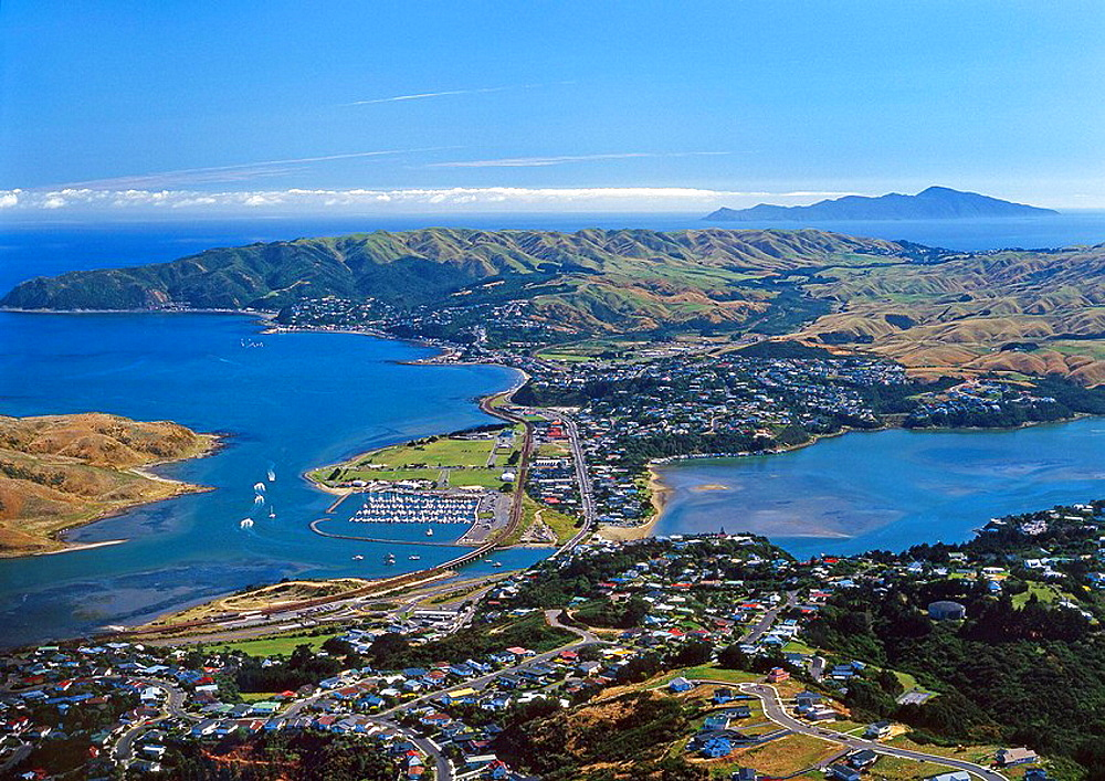 Paremata Mana Plimmerton Porirua Harbour and Kapiti Island New Zealand