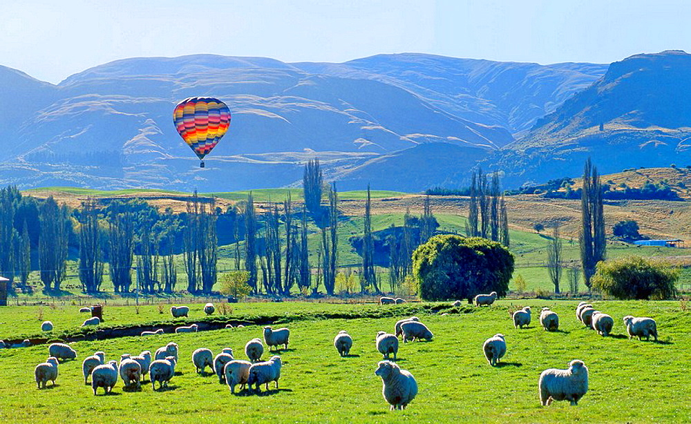 Hot air ballooning near Arrowtown New Zealand