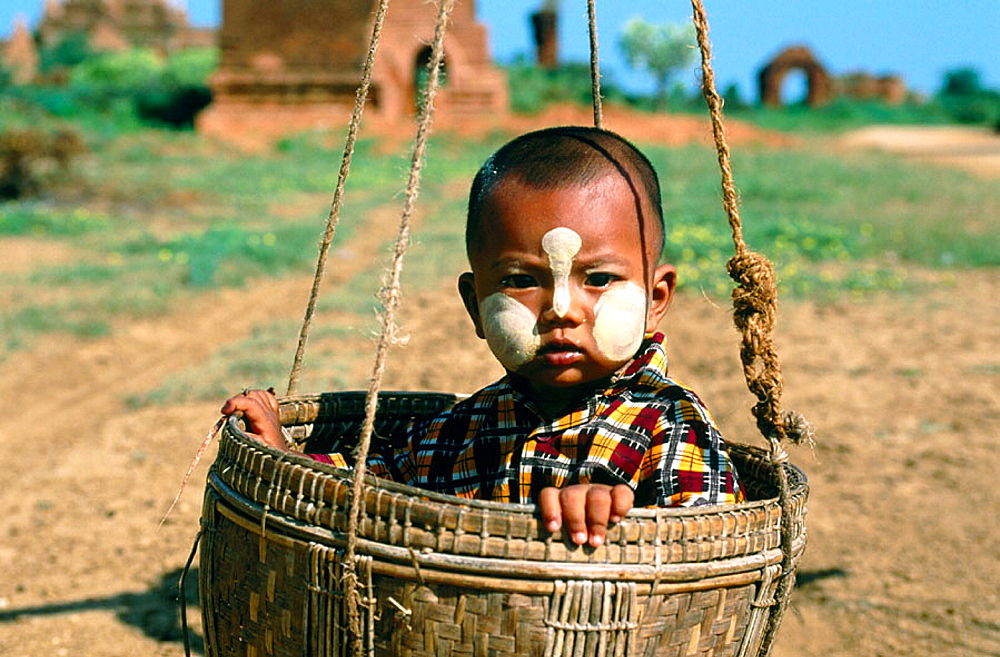 Child, Bagan Archaeological site, Mandalay division, Myanmar (Burma)