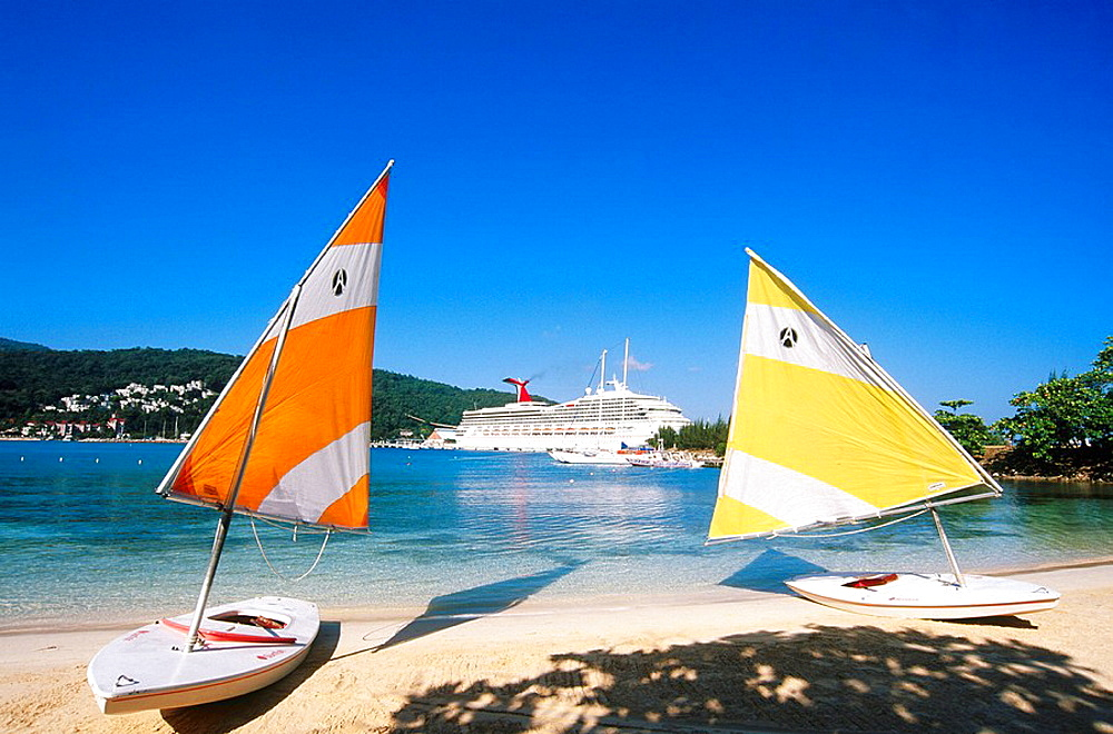 Sailing boats and cruise in Ocho Rios, Jamaica