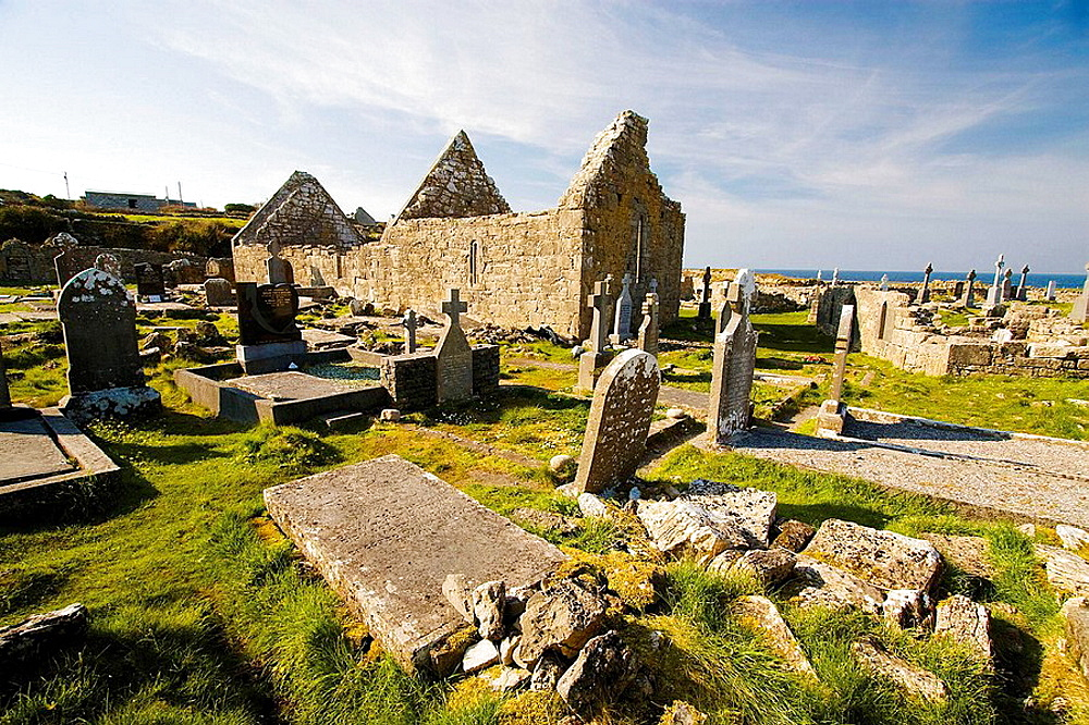 Na Seacht dTeampaill (Seven Curches) graveyard celtic remains, Inishmore, biggest of Aran Islands, Galway Co, Ireland