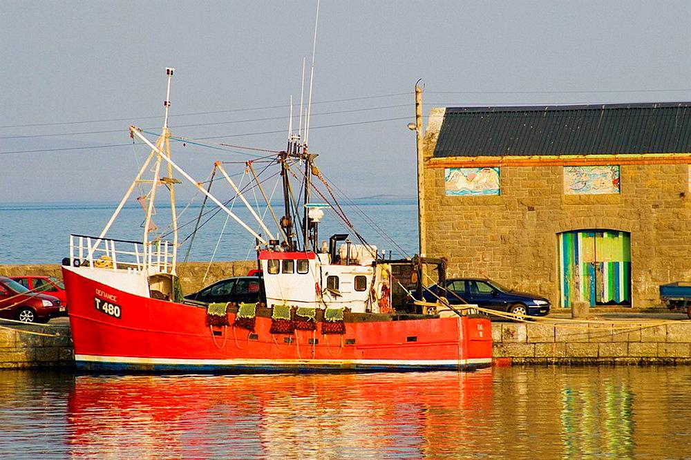 Fishing boats at Kilronan harbour, Inishmore, Aran Islands, Galway Co, Ireland