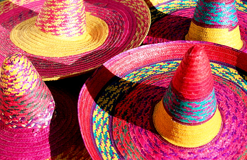 Colorful straw hats at market, Merida, Mexico - 817-12283
