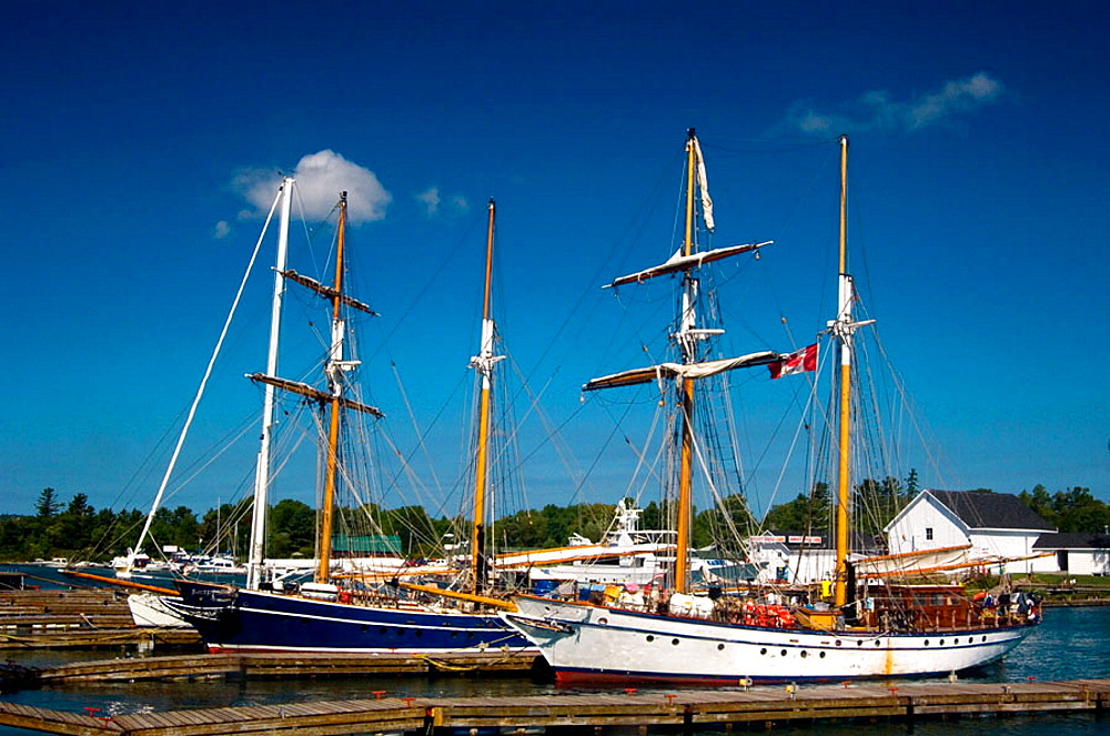 Tall ships moored in Killarney harbour, Ontario