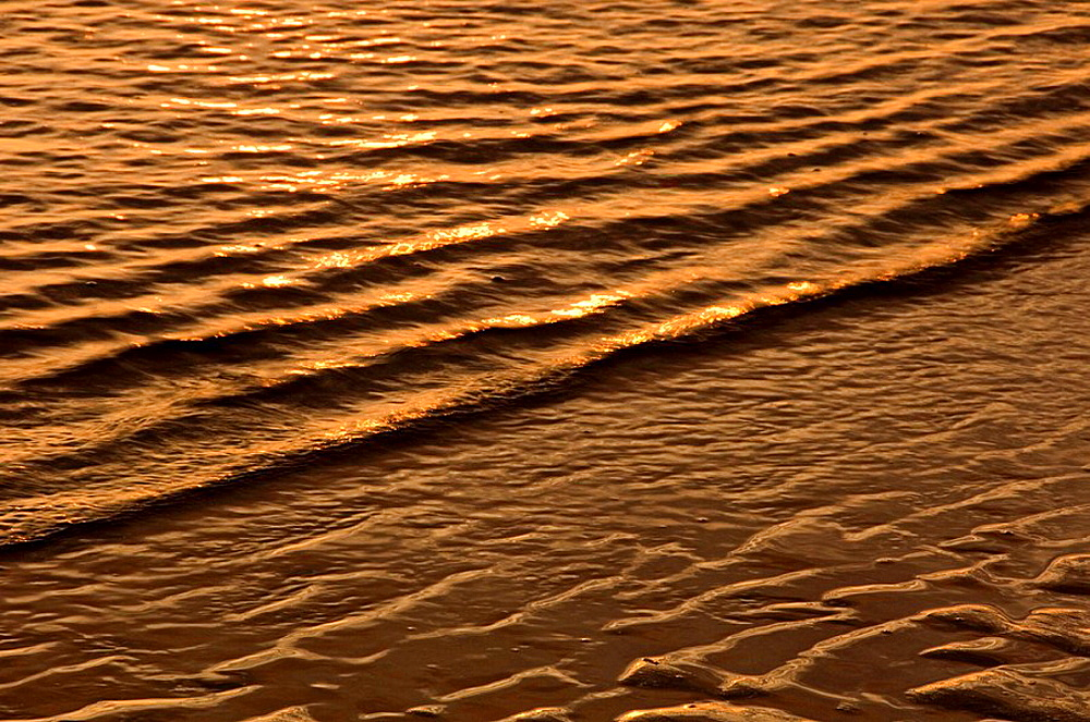 Sunrise light reflected on light surf along Cabot Beach, Cabot Beach Provincial Park, PEI, Canada