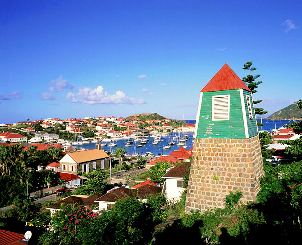 Bell tower of old Swedish church, Gustavia, St, Barts, Caribbean