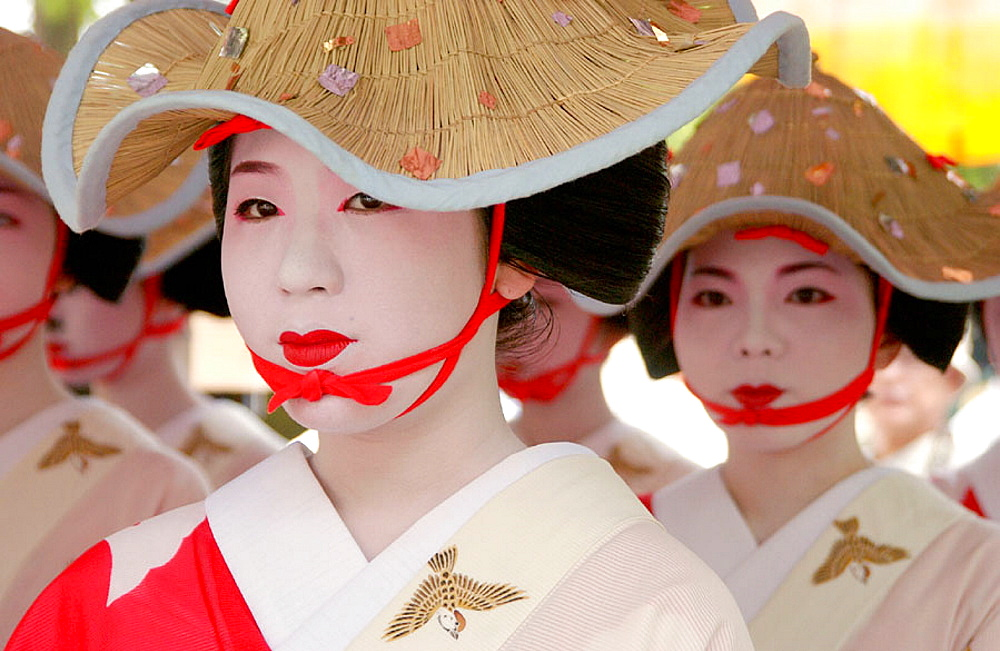 Women in traditional costume at Hanagasa Junko (procession of floral bonnets) during Gion Matsuri traditional Japanese festival, Kyoto, Japan - 817-124382