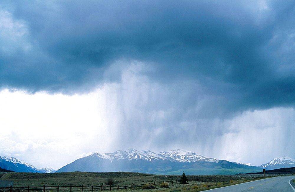 Rainstorm with heavy clouds, in southwest Colorado, USA, Photo taken in early April 2001 - 817-12518