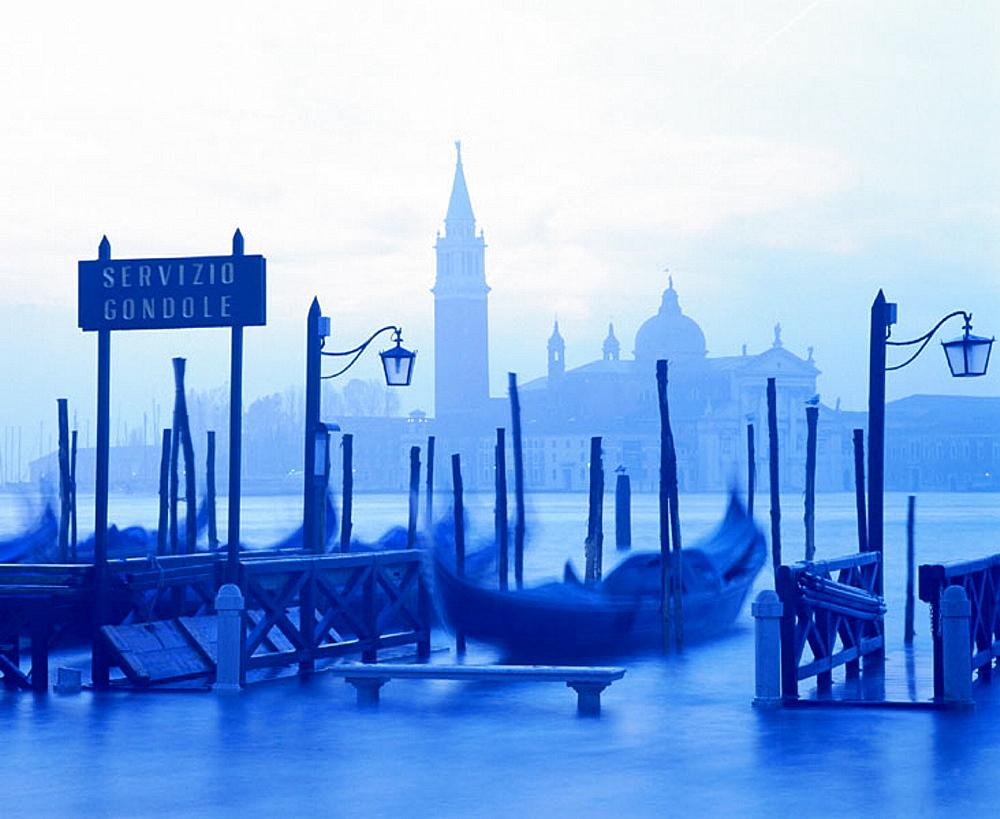Gondolas at San Giorgio Maggiore island, Venice, Italy - 817-12654