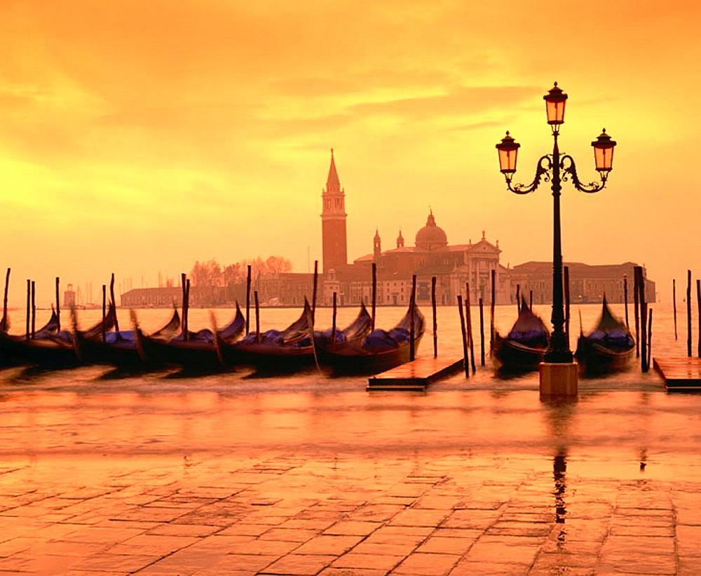 Gondolas and San Giorgio Maggiore island in background, Venice, Italy - 817-12655