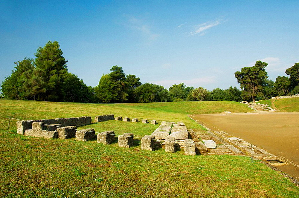 The remains of the original Olympic Stadium in olympia, Greece