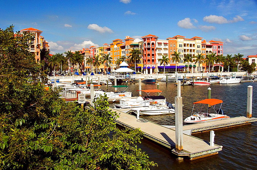 The marina at the Bayfront shopping and dining complex in Naples, Florida, USA, 2008