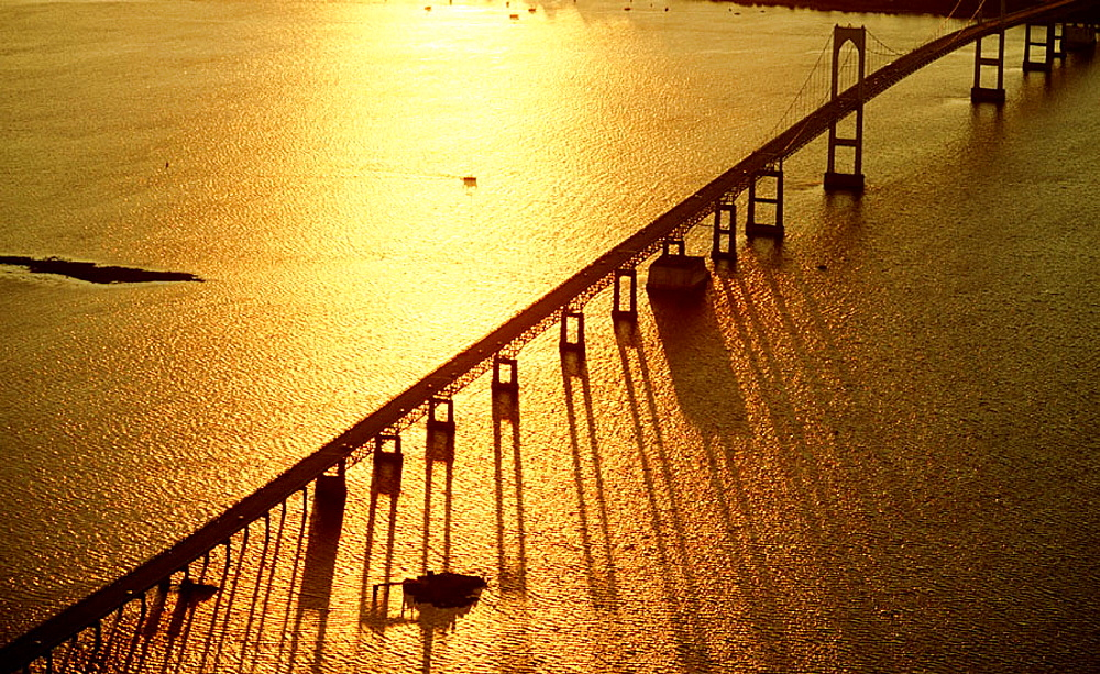 Bridge over Narragansett Bay, from Newport to Jamestown, at sunset, Rhode Island, USA