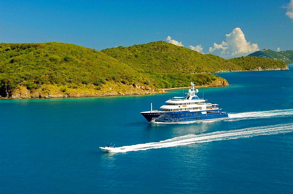 Boat traffic near the island of Tortola, British Virgin Islands, 2008