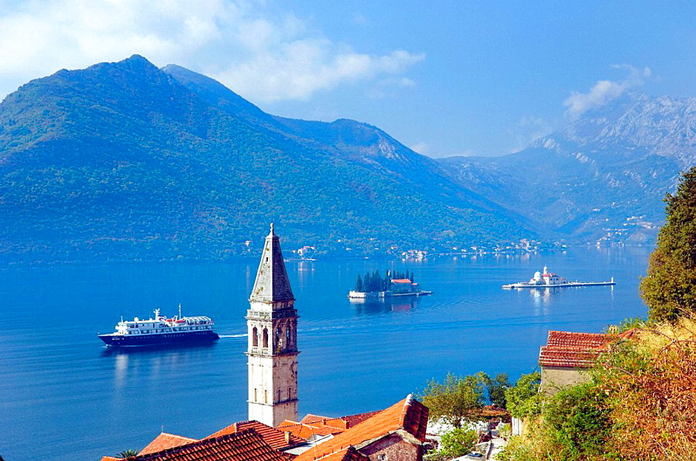 Church steeples and Lake Kotor with the village of Perast, Montenegro and its island churches