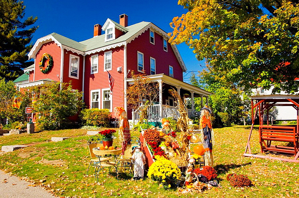 Autumn yard decor with pumpkins, corn stalks and scarecrows at the Old Red Inn and Cottages in North Conway, New Hampshire, USA - 817-127025