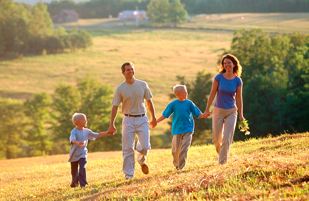 Family walking in country